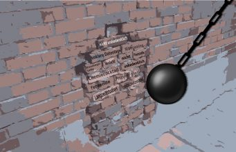 Mauer mit Textbausteinen wird von Abrißbirne getroffen
